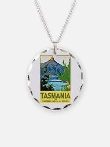 Tasmania Travel Poster 1 Necklace