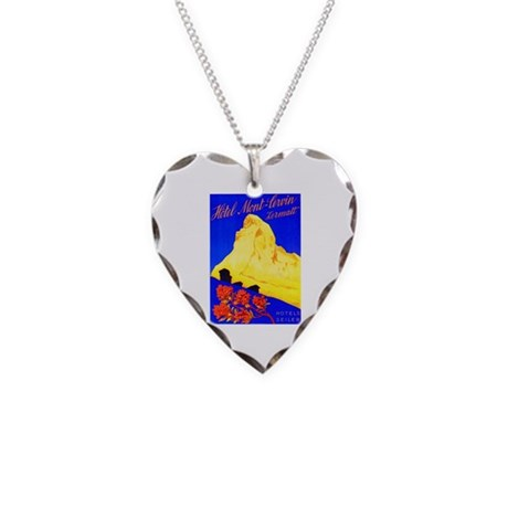 Switzerland Travel Poster 5 Necklace Heart Charm