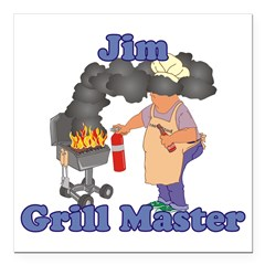 Grill Master Jim Square Car Magnet 3