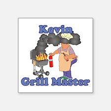 "Grill Master Kevin Square Sticker 3"" x 3"""