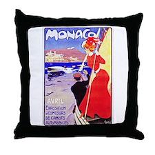 Monaco Travel Poster 1 Throw Pillow