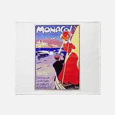 Monaco Travel Poster 1 Throw Blanket