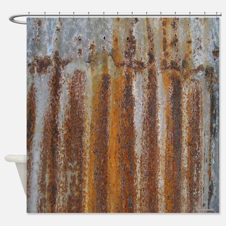 Rusty Tin Shower Curtain