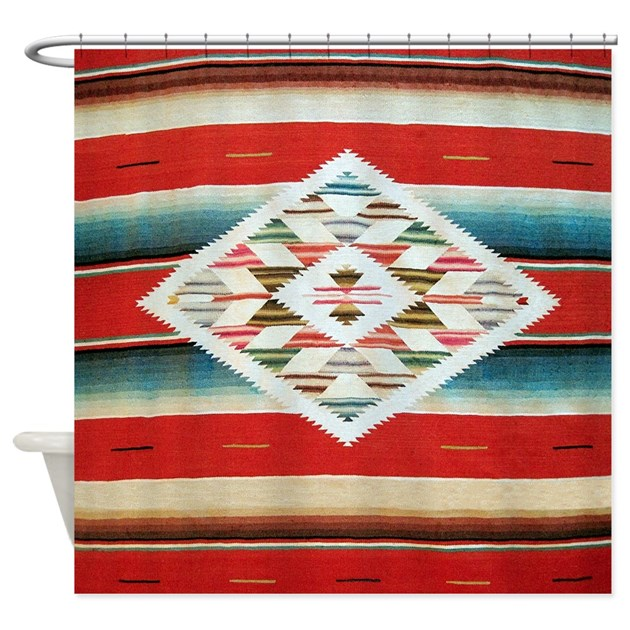 Vintage Red Mexican Serape Shower Curtain By Rebeccakorpita