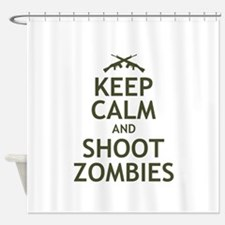 Keep Calm and Shoot Zombies Shower Curtain