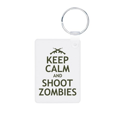 Keep Calm and Shoot Zombies Aluminum Photo Keychai