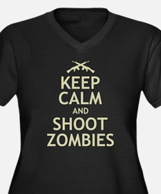 Keep Calm and Shoot Zombies Women's Plus Size V-Ne