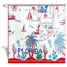 Vintage Florida Map Tablecloth Shower Curtain