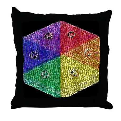 RAINBOW MOSAIC BUTTON 1Throw Pillow