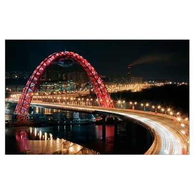 Zhiponovsky Bridge, Moscow at night Poster
