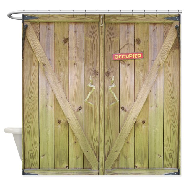 Rustic Barn Door Occupied Shower Curtain By Rebeccakorpita
