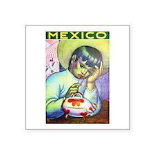 "Mexico Travel Poster 13 Square Sticker 3"" x 3"""