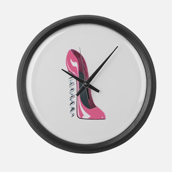 Corkscrew Pink Stiletto Shoe Large Wall Clock