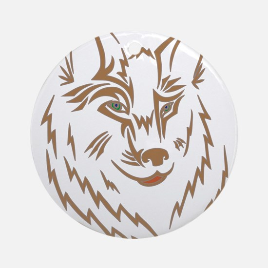 Brown Wolf Tribal Tattoo Ornament (Round)