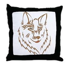 Brown Wolf Tribal Tattoo Throw Pillow