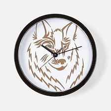 Brown Wolf Tribal Tattoo Wall Clock