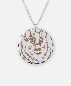 Brown Wolf Tribal Tattoo Necklace