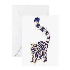 Blue and Tan Lemur Tribal Tattoo Greeting Card