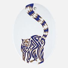 Blue and Tan Lemur Tribal Tattoo Ornament (Oval)