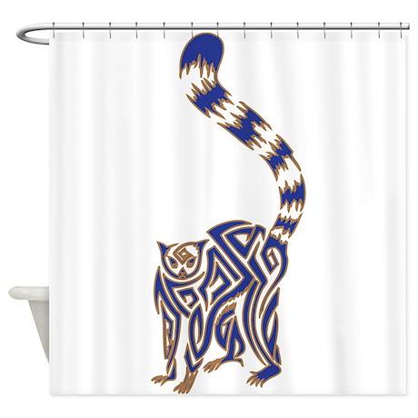blue and tan lemur tribal tattoo shower curtain by azizahs artbox