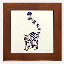 Blue and Tan Lemur Tribal Tattoo Framed Tile