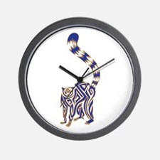 Blue and Tan Lemur Tribal Tattoo Wall Clock