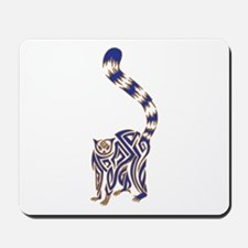 Blue and Tan Lemur Tribal Tattoo Mousepad