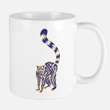 Blue and Tan Lemur Tribal Tattoo Mug