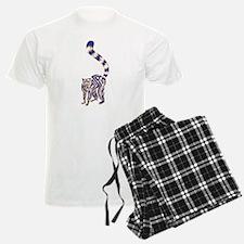 Blue and Tan Lemur Tribal Tattoo Pajamas
