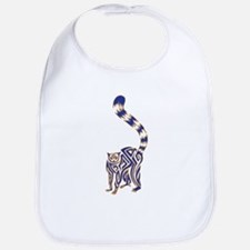 Blue and Tan Lemur Tribal Tattoo Bib