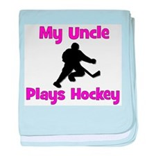 My Uncle Plays Hockey (in pink) baby blanket