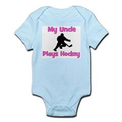 My Uncle Plays Hockey (in pink) Infant Bodysuit