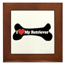 I Love My Retriever - Dog Bone Framed Tile