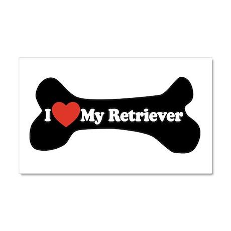 I Love My Retriever - Dog Bone Car Magnet 20 x 12