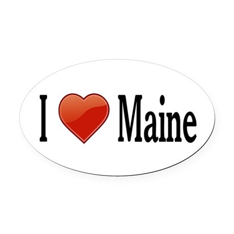 I Love Maine Oval Car Magnet
