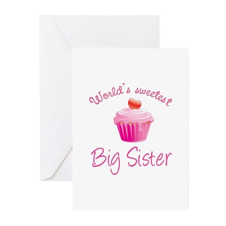 World's sweetest big sister Greeting Cards (Pk of