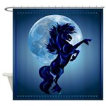 Rearing Stallion and Moon Shower Curtain