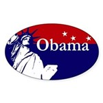 Obama Statue of Liberty USA Map Oval Sticker
