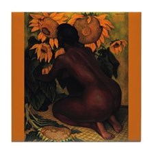 Diego Rivera Nude with Sunflowers Art Tile Coaster