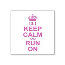 """run pink 13.1.png Square Sticker 3"""" x 3"""""""