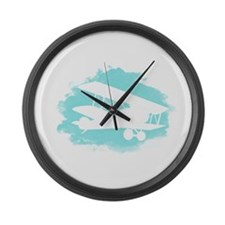 Biplane Cloud Silhouette Large Wall Clock