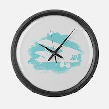 Biplane Cloud Silhouette Large Wall Clock