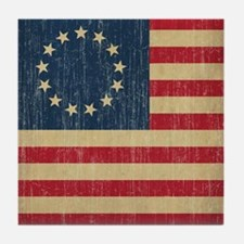 Vintage Betsy Ross Flag Tile Coaster