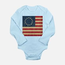 Vintage Betsy Ross Flag Long Sleeve Infant Bodysui