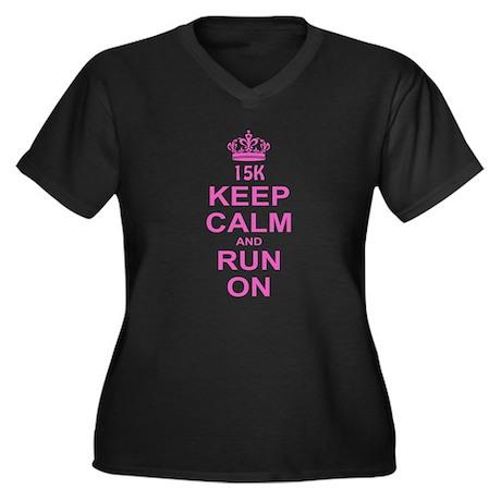 run pink 13.1.png Women's Plus Size V-Neck Dark T-