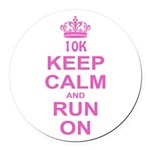 run pink 13.1.png Round Car Magnet