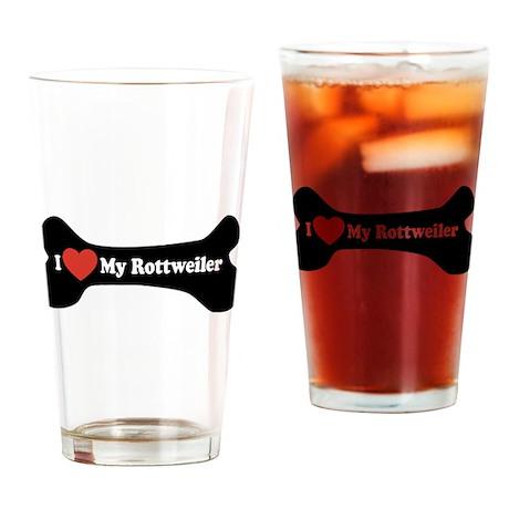 I Love My Rottweiler - Dog Bone Drinking Glass