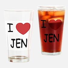 I heart JEN Drinking Glass