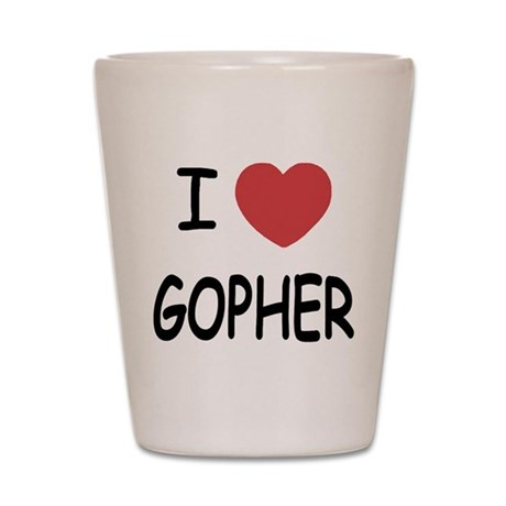 I heart GOPHER Shot Glass