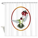 Red Throated Hummingbird Oval Trans.png Shower Cur